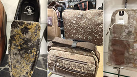Odporné snímky z obchodů: Drahé kabelky a boty po dvou měsících v karanténě zplesnivěly!