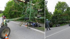 Mladý motorkář se rozbil o zemědělský stroj: Na vině byla přílišná rychlost, myslí si policisté