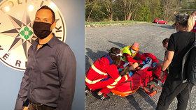 Senior v Kadani skončil po nehodě v potoce: Místní kriminalista mu zachránil život