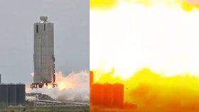 Muskova raketa explodovala na testovací rampě. Klíčový start s lidmi prý není ohrožen