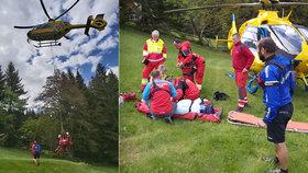V Krkonoších se po pádu vážně zranila žena: Záchranáři nasadili vrtulník