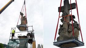VIDEO: Svatá Luitgarda sestoupila z Karlova mostu: V pilíři pod sochou je trhlina, musí se opravit