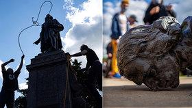 """Symbol rasismu,"" zuří demonstranti. K zemi šla socha prezidenta i Kryštofa Kolumba"