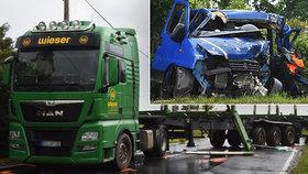 Sedm zraněných a jedna mrtvá žena! U Tisové na Tachovsku se srazil kamion s dodávkou