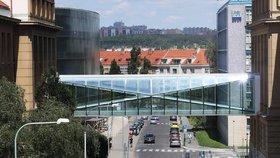 Chemické propojení: Mezi budovami VŠCHT v Dejvicích vyrostly nové můstky, odkazují k benzenovému jádru