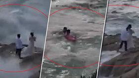 Novomanželé se fotili na útesech: Vlna je smetla do moře!