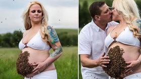 Těhotná se nechala nafotit s tisícovkou včel na břiše: Přitom je prý alergická na jejich bodnutí!