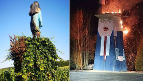 """Trumpovi """"oběťmi"""" žháře: Ve Slovinsku podpálili podobizny páru. Schytala to i dřevěná socha"""