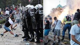 Metropole v plamenech: Při koronavirových protestech proti vládě nasadila policie slzný plyn
