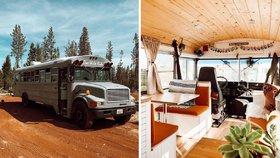 Mladý pár vytvořil ze školního autobusu stylový domov na kolech