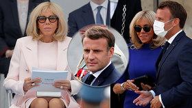 """Macronová (67) si oblékla minišaty, ale roušku ne. S prezidentem před vojáky """"nedržela krok"""""""