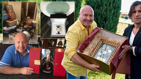 Michal David se po oslavě chlubí dary: Koňak za 190 tisíc, zlaté hodinky i erb!