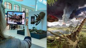 """Nedaleko pražského letiště se promenádují dinosauři. Dosud jen virtuální, brzy i """"skuteční"""""""