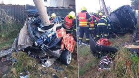 Tragédie v Jiříkově: Dva mladíci omotali auto kolem sloupu, na místě zemřeli