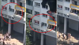 Šokující video! Rodiče zamkli dvě malé děti v bytě: Kvůli požáru musely vyskočit z okna