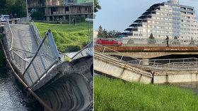 Most pro pěší a cyklisty se zřítil! Do nemocnice odvezli zraněnou ženu