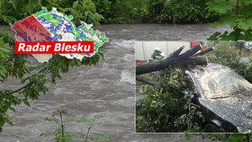 Lijáky dál bičují Česko, sledujte radar Blesku. Řeky vystoupaly na třech místech na první povodňový stupeň