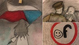 Po místech v Praze, která pamatují totalitu: Děti je navštívily, pak namalovaly. Díla vystavují na radnici Prahy 1