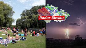 Silné bouřky a lijáky řádí v Česku. Sledujte radar Blesku. Kdy se vrátí vedra?