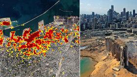 NASA mapuje škody po obří bejrútské explozi skladu narvaného ledkem: Kráter je hluboký 43 metrů!