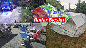 Silné bouřky a zatopené sklepy v Česku. Vichr bral i střechy, sledujte radar Blesku