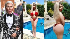 Ken přeoperovaný na Barbie: V bikinách à la Pamela předvedl pořádný pupíček!