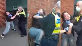 Drsná pacifikace mladé dívky bez roušky: Policista ji zaklekl na zemi!
