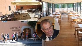 Luxusní restaurace za 10 tisíc měsíčně: Hrad ji pronajal lidem, u kterých slavil Zeman
