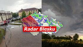 Vydatné lijáky sužují severovýchod Moravy. Hladiny řek se zvedají, sledujte radar Blesku