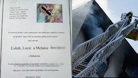 Dojemná vzpomínka na oběti požáru v Bohumíně: Lukáše, Lucii a Melinku (†11) pohřbí společně