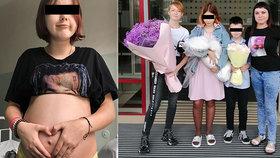 Dětskou maminku Dášu (14) propustili z porodnice. Otčím Ivánek (10) ji přivítal s kyticí
