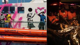 Loď výtvarníka Banksyho v potížích: S ženami, dětmi a mrtvým migrantem na palubě volá o pomoc