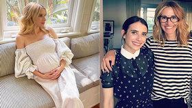 Konec tajností! Herečka Robertsová odhalila těhotenské bříško
