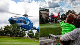 Rozruch v Zítkových sadech. Přistály zde dva vrtulníky. Lidé nechápali proč