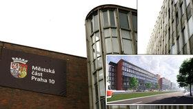 Takhle má vypadat nová radnice Prahy 10! Teď vypadávají okna, úředníci si nemohou vyvětrat a do suterénu zatéká