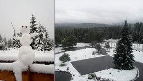 Do Česka dorazil první sníh, bílo je na Šumavě i v Krušných horách. U sousedů čekají metrovou nadílku