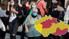"""Česko na """"semaforu"""" opět zčervenalo. Komunitně se covid-19 šíří v pěti krajích, kterých?"""