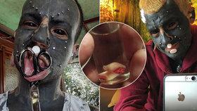 """""""Mutantí muž"""" podstupuje děsivé modifikace: Černá kůže, rohy, kvanta piercingů i kusy uší v láku!"""