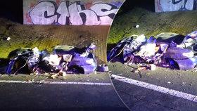BMW vyletělo na Litoměřicku z dálnice: Náraz do mostku si vyžádal dva mrtvé