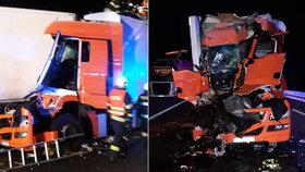 Vážná nehoda na D1: Hasiči řidiče vyprošťovali dvě hodiny! Na místě zasahoval vrtulník
