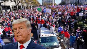 Desetitisíce lidí podpořily Trumpa, který přibrzdil v limuzíně. A potyčka skončila zraněním hlavy