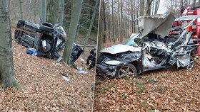 Fotky, z kterých mrazí: Osobák na Vsetínsku sjel ze silnice, řidič zemřel