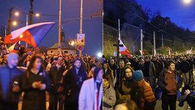 V Praze se opět demonstruje proti vládě. Lidé se sešli převážně bez roušek
