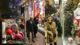 Vánoce v Íránu: Obchody rozzářily vánoční dekorace a lidé si zamilovali vánoční stromky