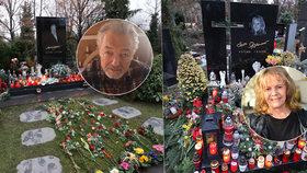 Štědrý den na hrobech Gotta (†80) a Pilarové (†80): Uslzení fanoušci vystlali cestu růžemi