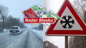 Bouračky i zranění. Sníh zkomplikoval řidičům v Česku cestu, sledujte radar Blesku
