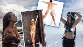 Nejslavnější hanbáři se v mrazu svlékli: Kardashianky na horách, odhalená prsa i zadečky!