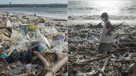 Tuny odpadků zohyzdily nádherné pláže na Bali: Může za to znečištění oceánů a monzuny