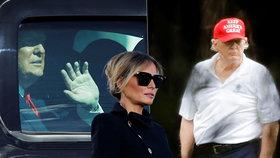 Trumpovy první dny mimo Bílý dům: Golf, výročí svatby s Melanií a obavy o bohatou penzi
