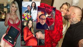 Sladký Valentýn celebrit: Přetékající výstřih Lely, pugéty růží a těhotenské bříško u Boučků!